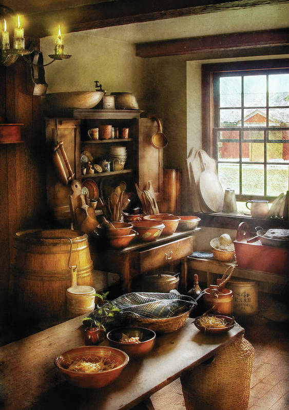 Hdr Art Print featuring the photograph Kitchen - Nothing Like Home Cooking by Mike Savad