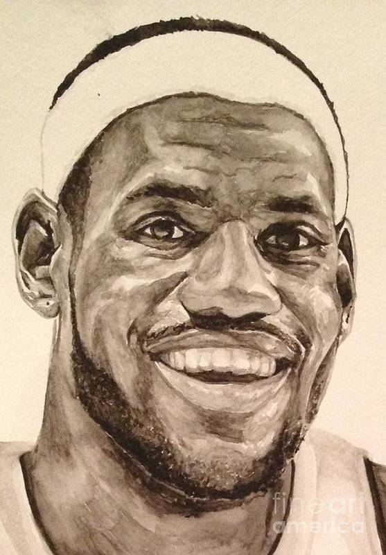 Lebron James Art Print featuring the painting Lebron James by Tamir Barkan