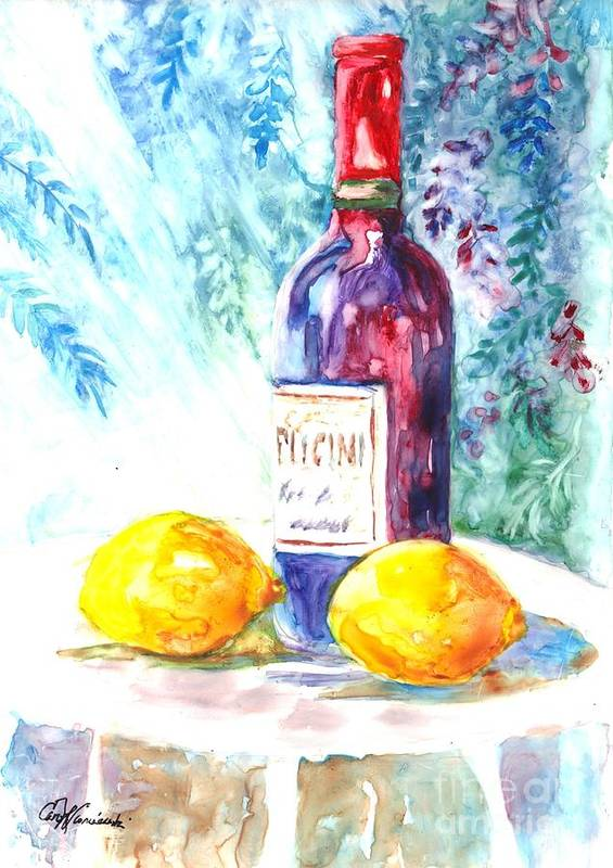 Wine Art Print featuring the painting Lemons And Wine And A Little Sunshine by Carol Wisniewski