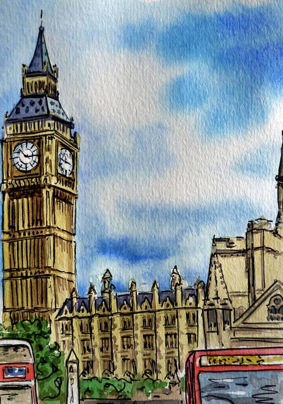 Big Ben Print featuring the painting London England Big Ben by Irina Sztukowski