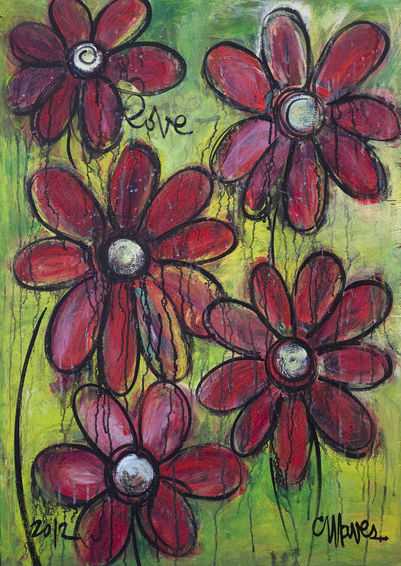 Daisies Art Print featuring the painting Love For Five Daisies by Laurie Maves ART