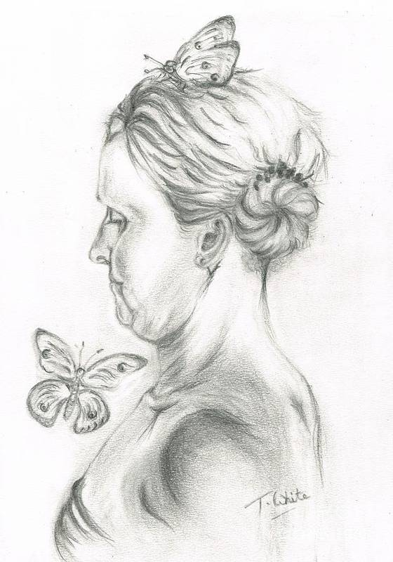 Teresa Art Print featuring the drawing Loves- Her Butterflies by Teresa White