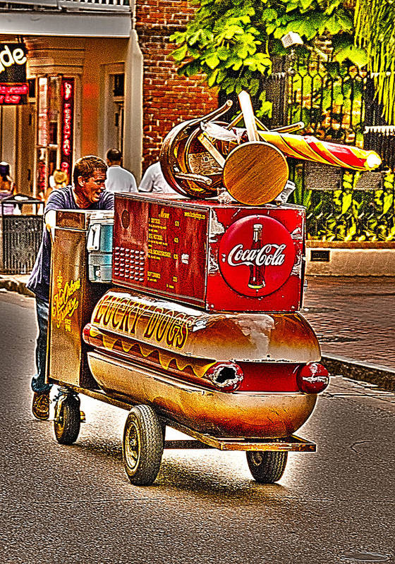 Lucky Dog Street Vendor Art Print featuring the photograph Luck Dog And Coca Cola by Nichon Thorstrom