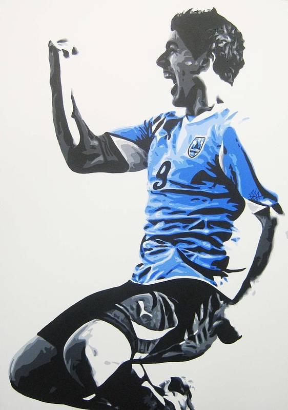Luis Suarez Art Print featuring the painting Luis Suarez - Uraguay by Geo Thomson
