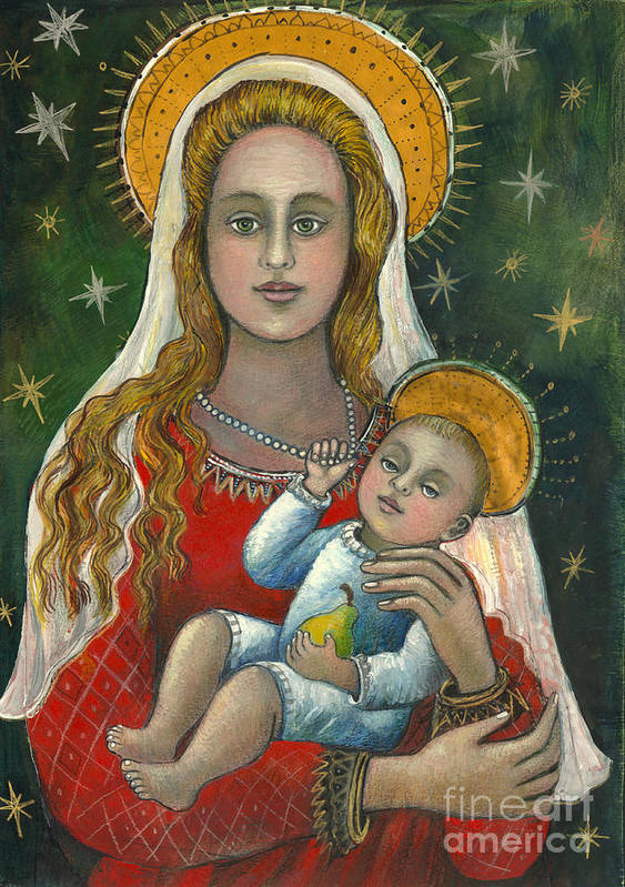 Christian Icon Art Print featuring the painting Madonna With Baby Jesus by Vera Zales