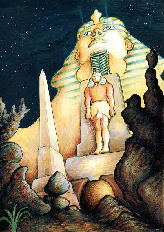 Sphinx Art Print featuring the painting Magic Vegas Sphinx - Fantasy Art by Peter Potter