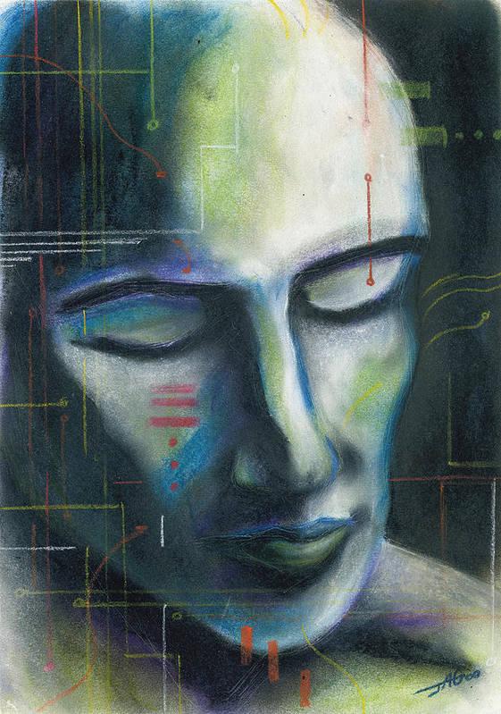 Pastel Art Print featuring the drawing Man-machine by John Ashton Golden