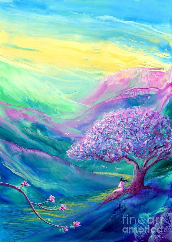 Magnolia Art Print featuring the painting Meditation In Mauve by Jane Small