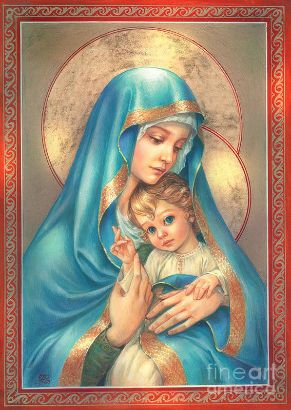 Mother Of God Art Print featuring the digital art Mother Of God by Zorina Baldescu