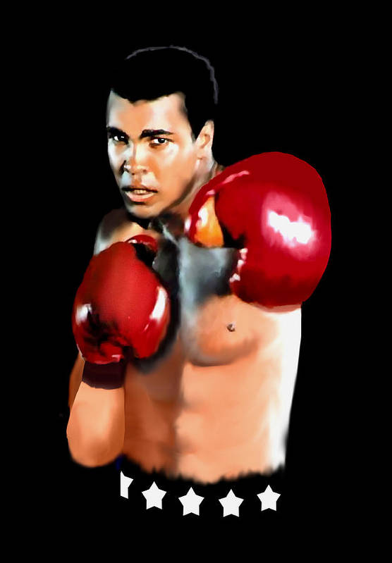 Muhammed Ali Print featuring the painting Muhammed Ali by Jann Paxton