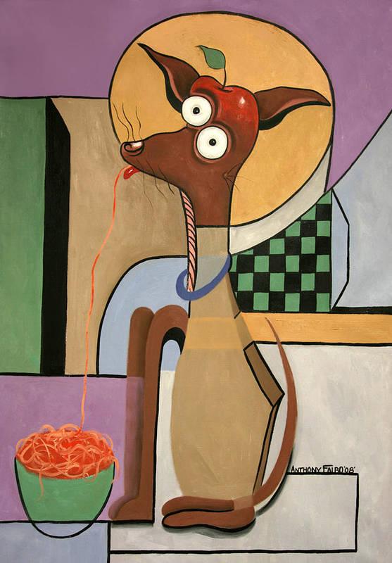My Apple Head Chihuahua Art Print featuring the painting My Apple Head Chihuahua by Anthony Falbo
