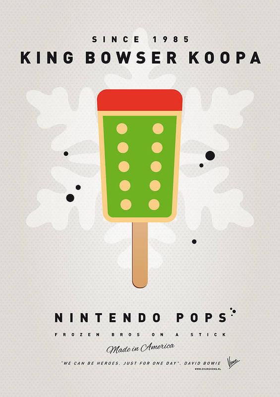 1 Up Art Print featuring the digital art My Nintendo Ice Pop - King Bowser by Chungkong Art