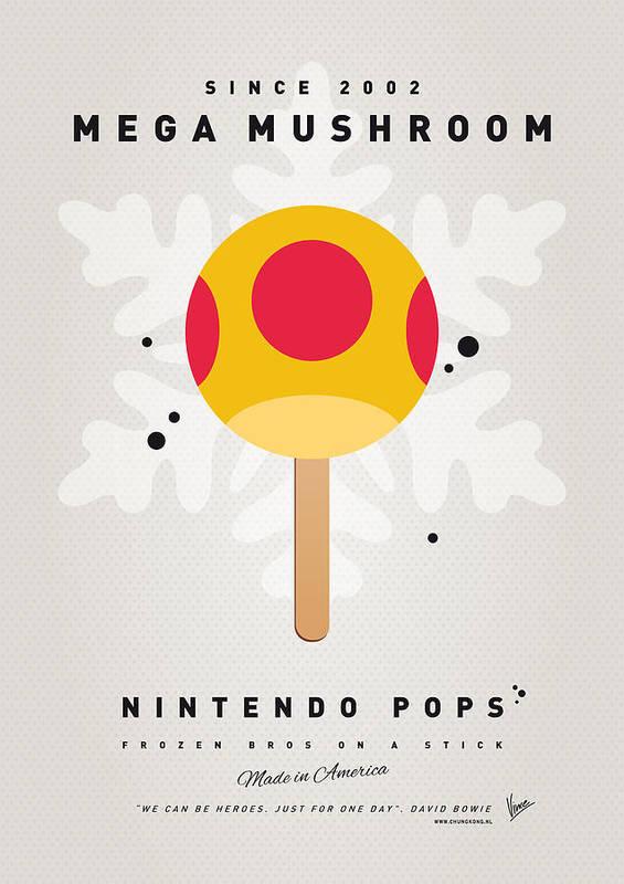 1 Up Print featuring the digital art My Nintendo Ice Pop - Mega Mushroom by Chungkong Art