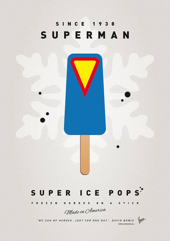Superheroes Art Print featuring the digital art My Superhero Ice Pop - Superman by Chungkong Art