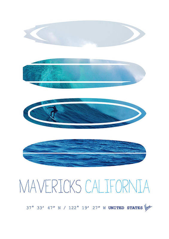 Minimal Print featuring the digital art My Surfspots Poster-2-mavericks-california by Chungkong Art