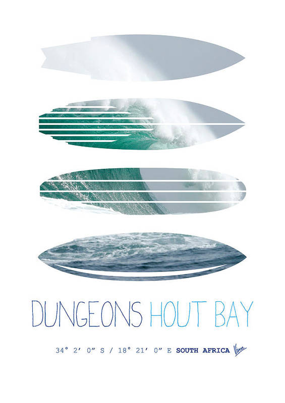 Minimal Art Print featuring the digital art My Surfspots Poster-4-dungeons-cape-town-south-africa by Chungkong Art
