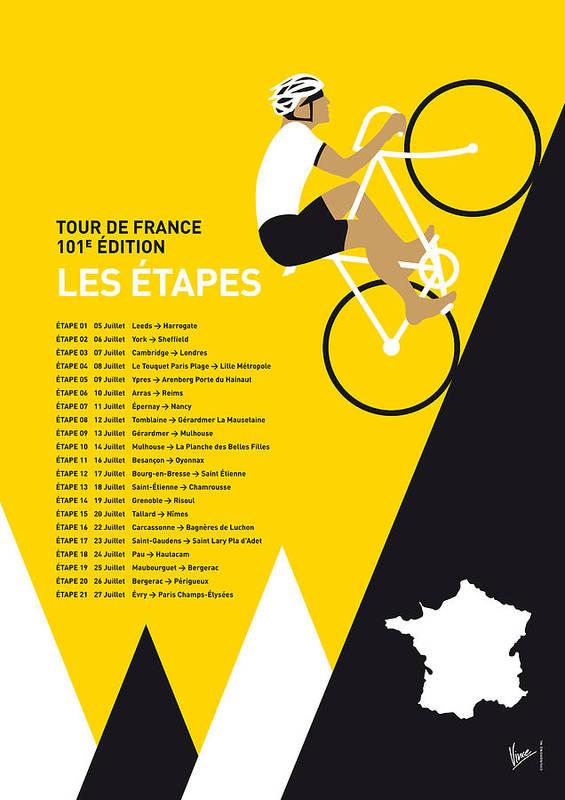 2014 Art Print featuring the digital art My Tour De France Minimal Poster 2014-etapes by Chungkong Art