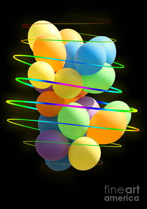 Balloons Art Print featuring the photograph Neon Balloons by Michelle Orai