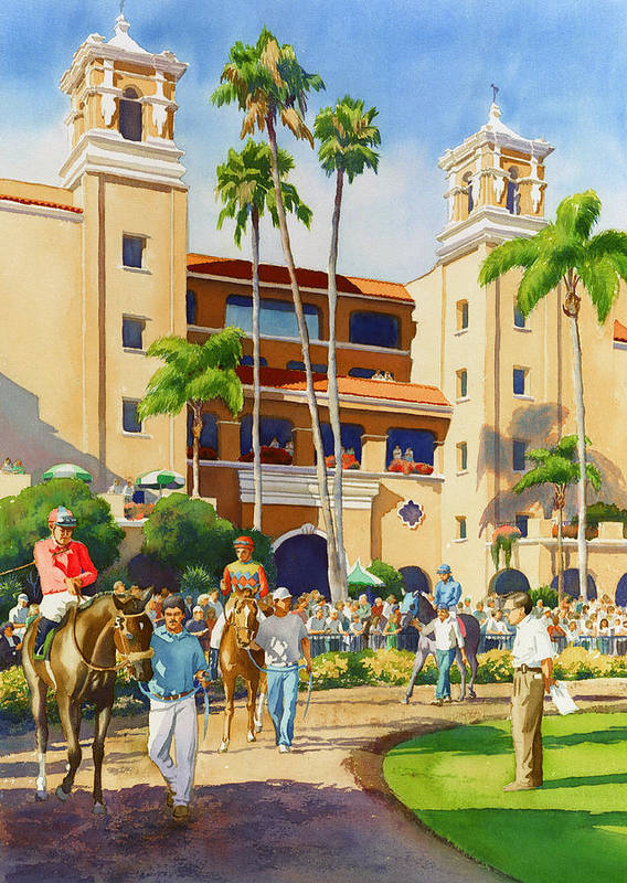 Paddock Art Print featuring the painting New Paddock At Del Mar by Mary Helmreich