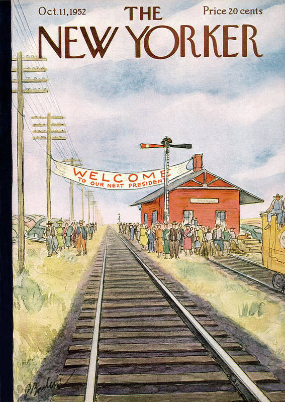 Train Art Print featuring the painting New Yorker October 11th, 1952 by Perry Barlow