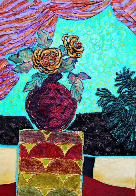 Flowers In A Vase Art Print featuring the mixed media On A Pedestal by Diane Fine
