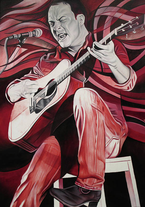 Dave Matthews Art Print featuring the painting On Bended Knees by Joshua Morton