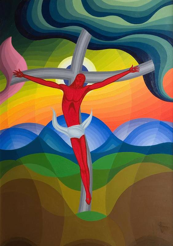Jesus Christ Art Print featuring the painting On The Cross by Emil Parrag