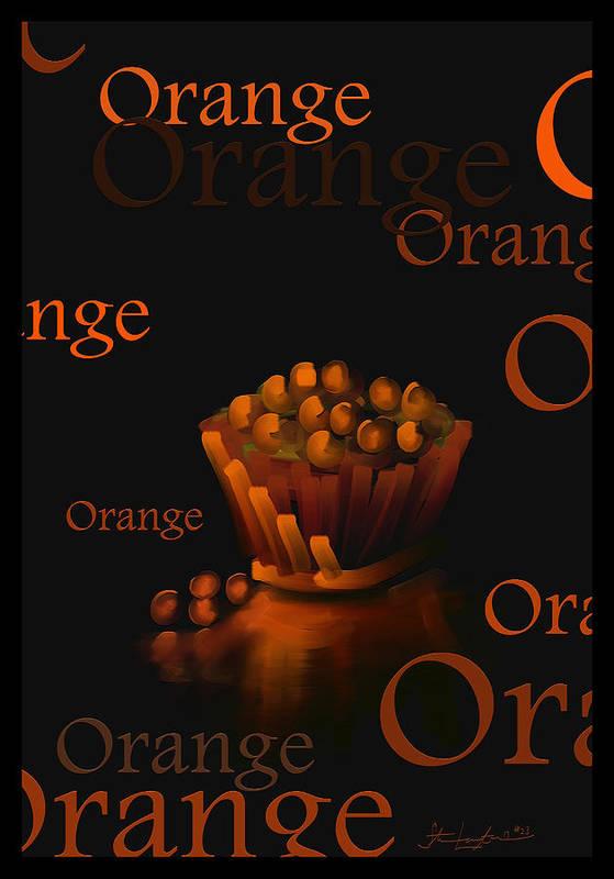 Orange Art Print featuring the painting Orange - Fruit And Veggie Series - #23 by Steven Lebron Langston