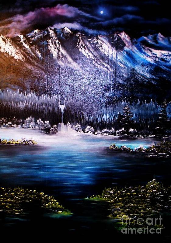 Winter.mountain Art Print featuring the painting Winter Grace-original Sold-buy Giclee Print Nr 32 Of Limited Edition Of 40 Prints by Eddie Michael Beck