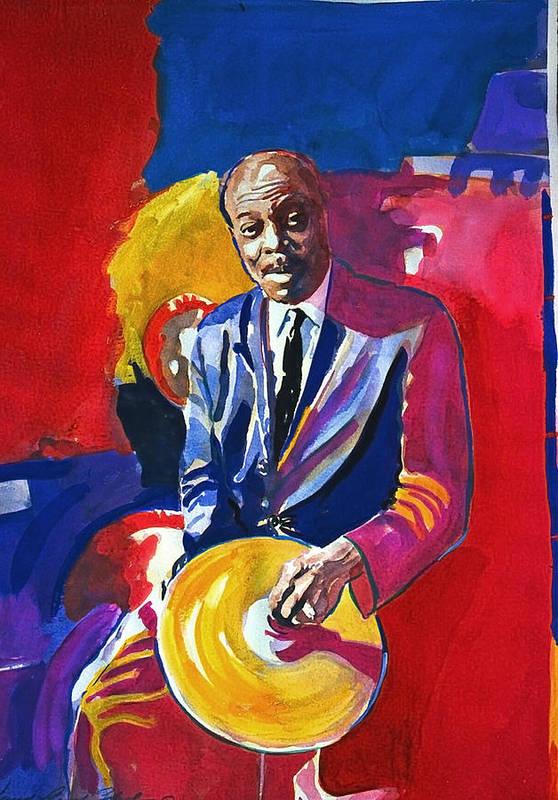 Jazz Art Print featuring the painting Papa Jo Jones by David Lloyd Glover