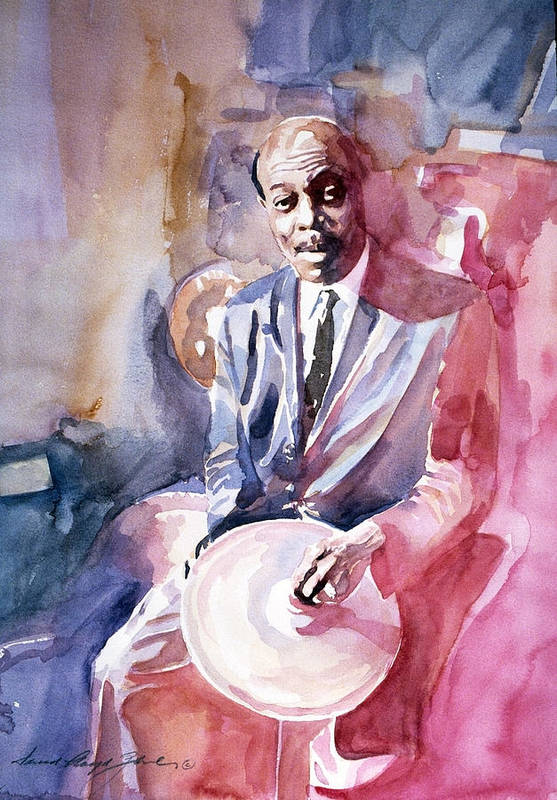 Papa Jo Jones Print featuring the painting Papa Jo Jones Jazz Drummer by David Lloyd Glover