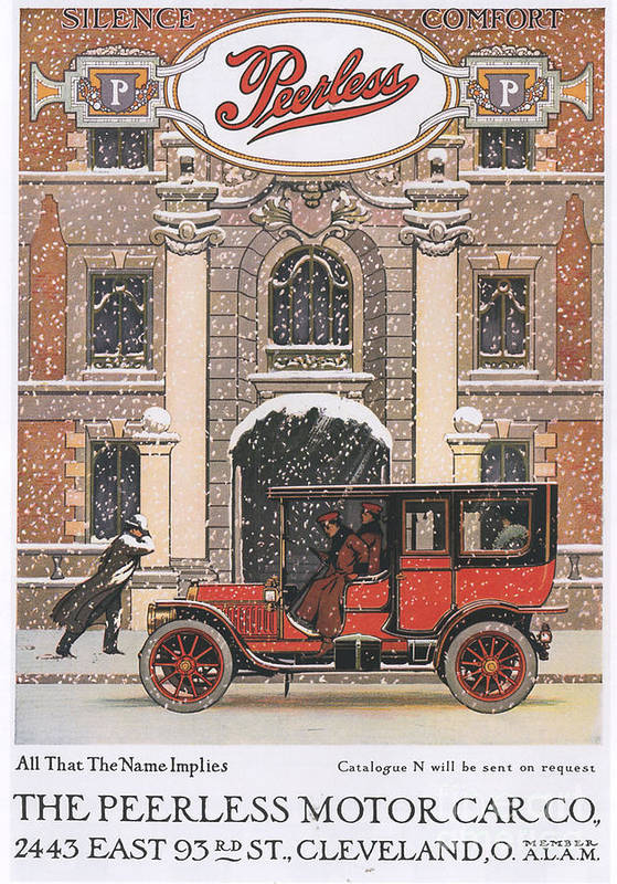 1910�s Art Print featuring the drawing Peerless 1910s Usa Cars Winter Snow by The Advertising Archives