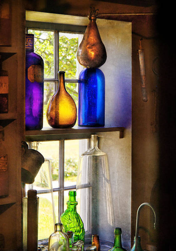 Hdr Art Print featuring the photograph Pharmacy - Colorful Glassware by Mike Savad