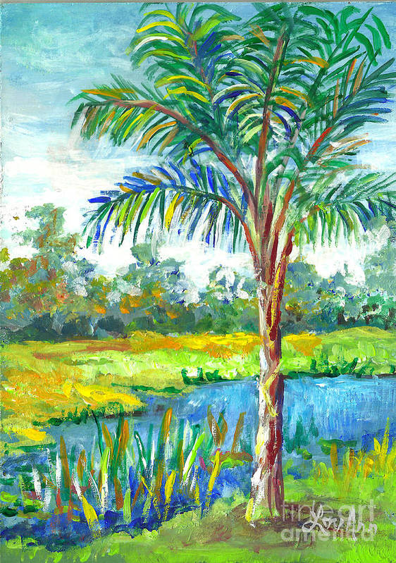 Florida Art Print featuring the painting Pond And Palm by Lou Ann Bagnall