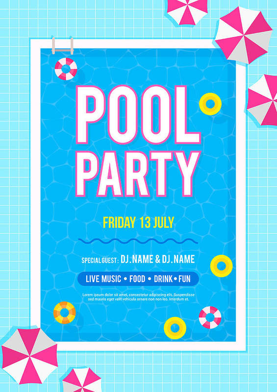 Pool Party Invitation Poster Vector Illustration. Top View Of ...