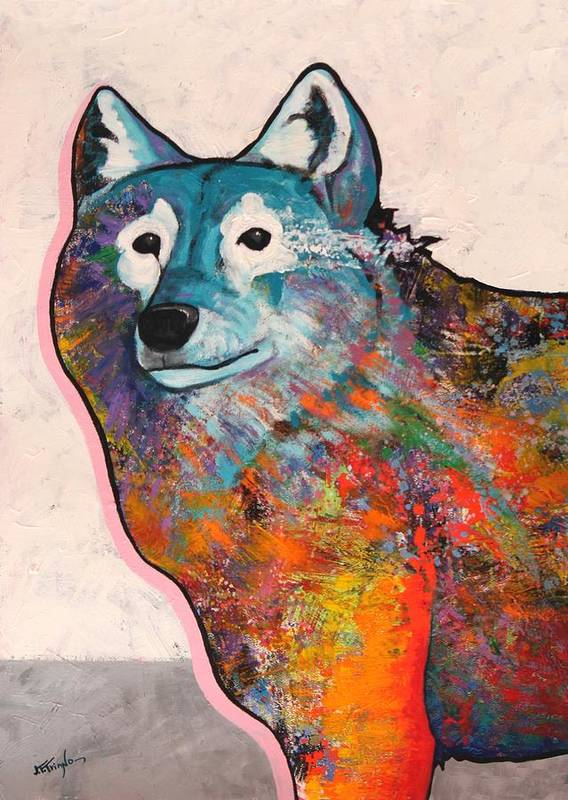 Animal Art Print featuring the painting Rainbow Warrior - Alfa Wolf by Joe Triano