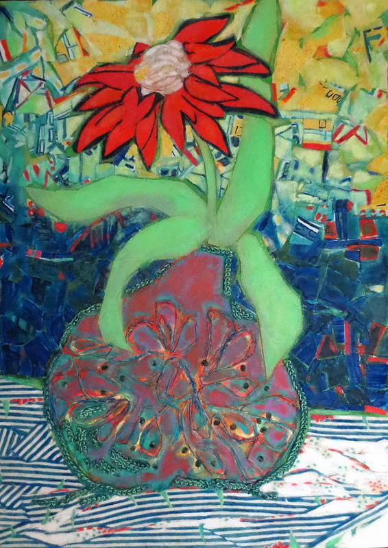 Still Life Mixed Media Art Print featuring the mixed media Red Diasy by Diane Fine