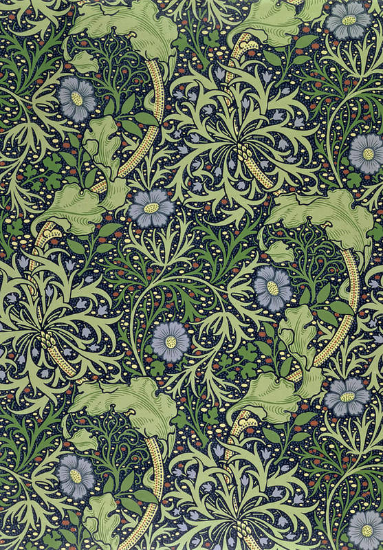 Seaweed Art Print featuring the tapestry - textile Seaweed Wallpaper Design by William Morris