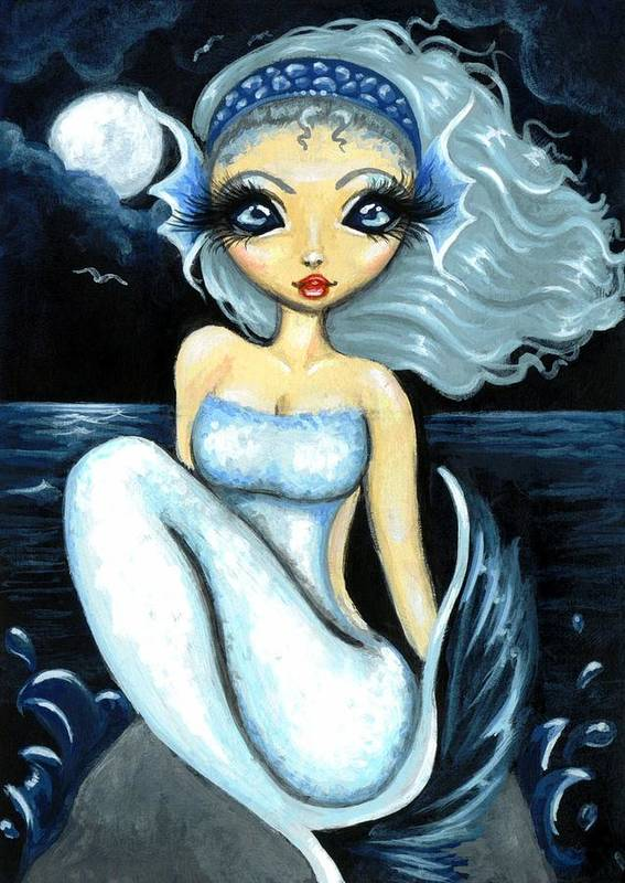 Fantasy Mermaid Art Print featuring the painting Silver Moon by Elaina Wagner