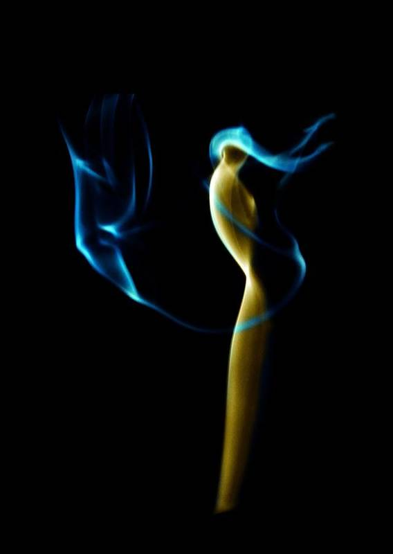 Abstract Artistic Photograph Of Rising Incense Smoke. Art Print featuring the photograph Smoke 2 - Solitude Standing by Mark Fuller