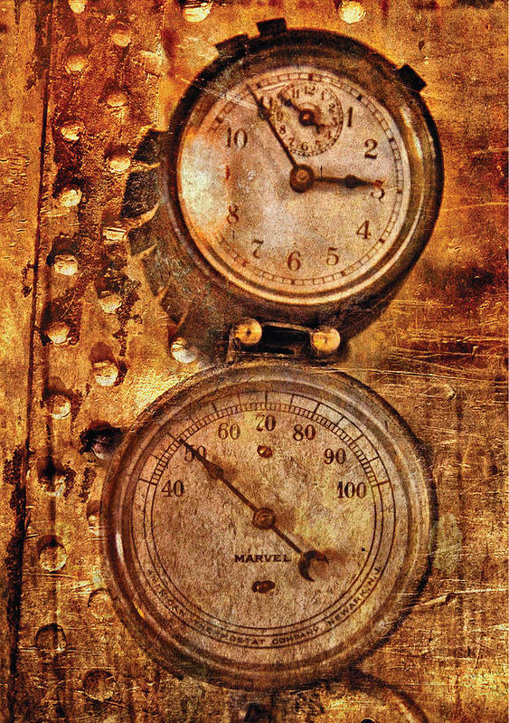 Savad Art Print featuring the photograph Steampunk - Gauges by Mike Savad
