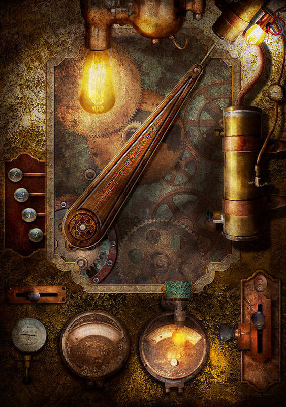 Hdr Print featuring the digital art Steampunk - Victorian Fuse Box by Mike Savad