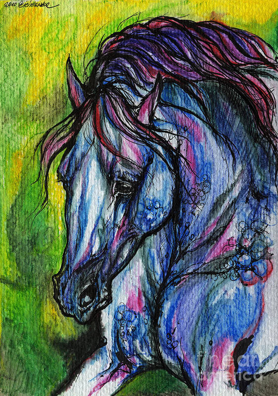 Horse Art Print featuring the painting The Blue Horse On Green Background by Angel Ciesniarska