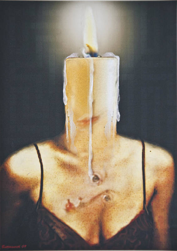 Surrealism. Woman Art Print featuring the digital art The Candle Flame by Larry Butterworth