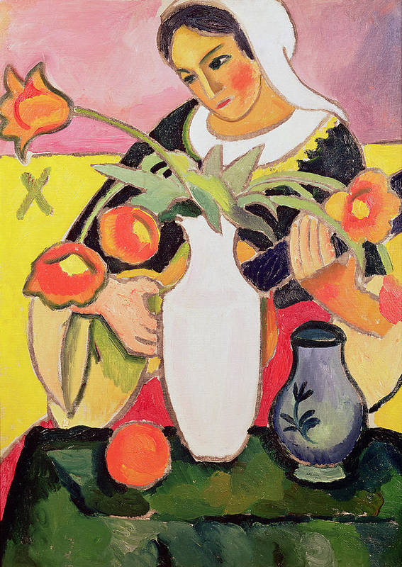 La Joueuse De Luth Art Print featuring the painting The Lute Player by August Macke