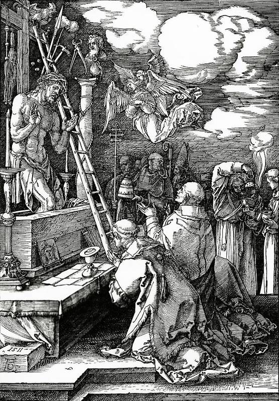 Kneeling Art Print featuring the painting The Mass Of St. Gregory by Albrecht Duerer
