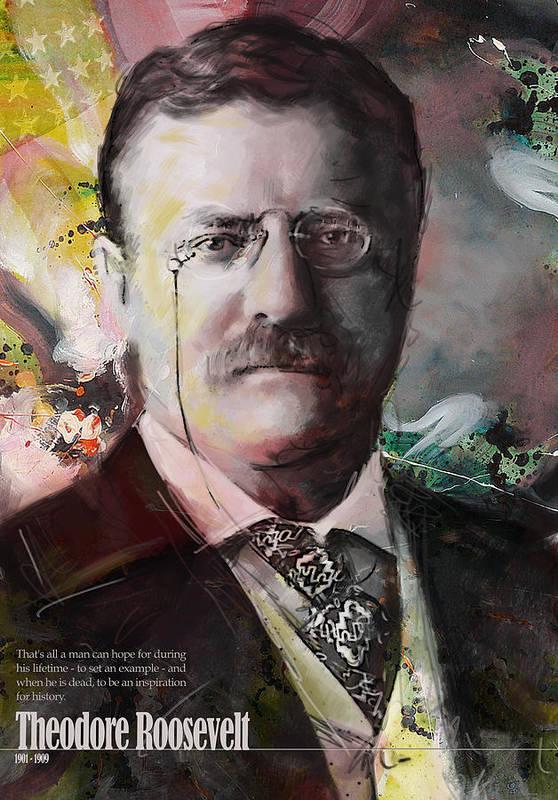 Theodore Roosevelt Print featuring the painting Theodore Roosevelt by Corporate Art Task Force
