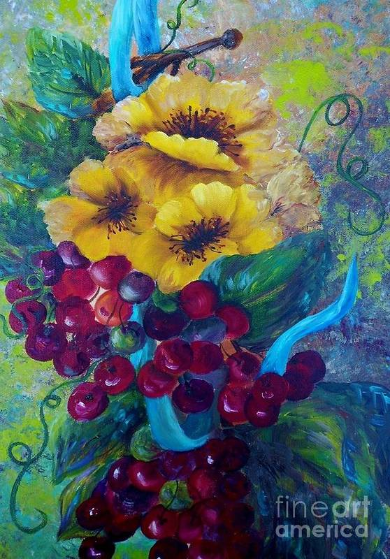 Yellow Art Print featuring the painting Too Delicate For Words - Yellow Flowers And Red Grapes by Eloise Schneider