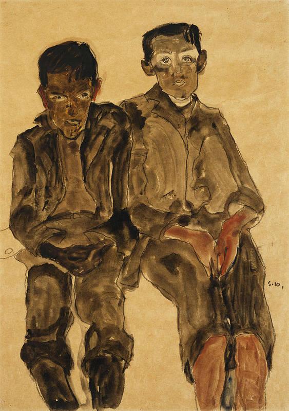 Austrian Art; Austrian Artist; Aversion; Boys Art Print featuring the painting Two Seated Boys by Egon Schiele
