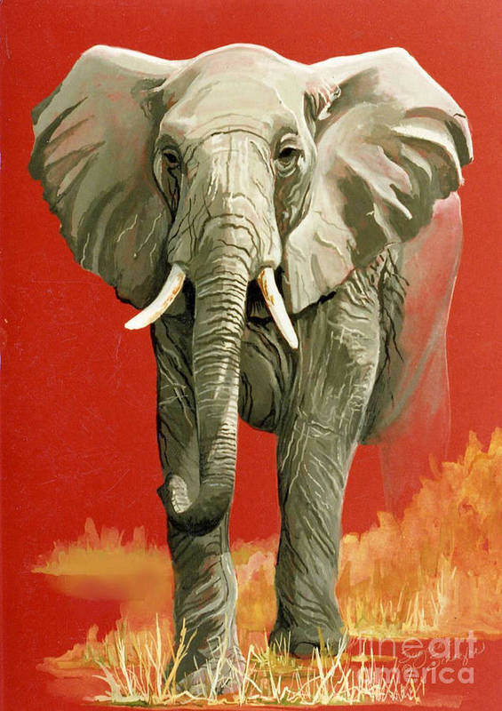 Elephant Art Print featuring the painting Vanishing Thunder Series by Suzanne Schaefer